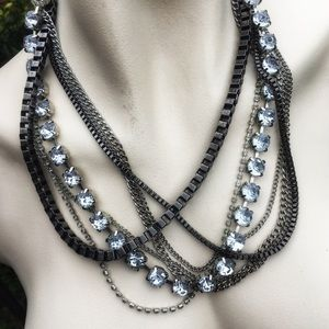 Signed Multi-Textured Chain & Diamonique Necklace
